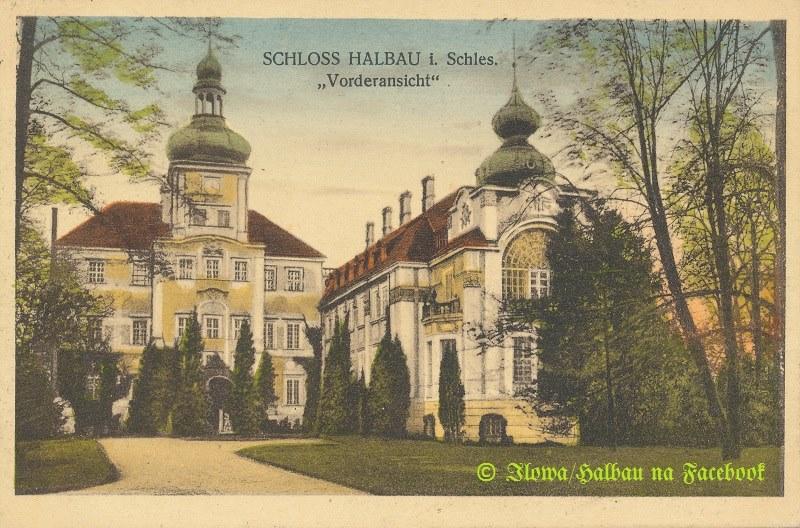 stara pocztówka ze zdjęciem pałacu