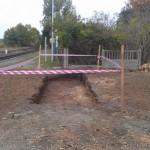 Przygotowanie fundamentwó pod nową wiatę kolejową w Iłowej